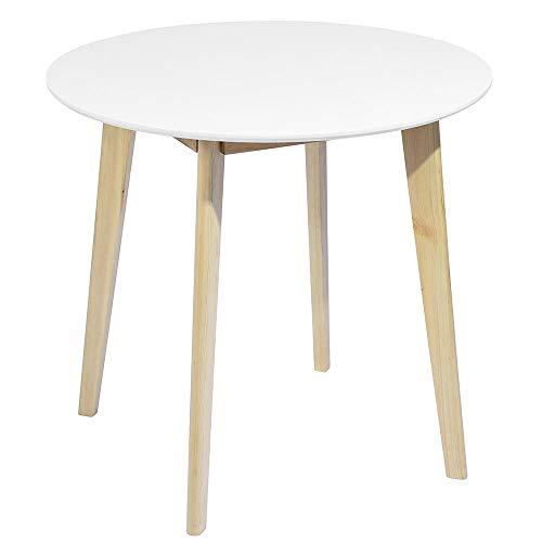 BAKAJI Tavolo Sala da Pranzo Cucina Forma Rotonda Design Moderno Scandinavo in Legno MDF Dimensione...