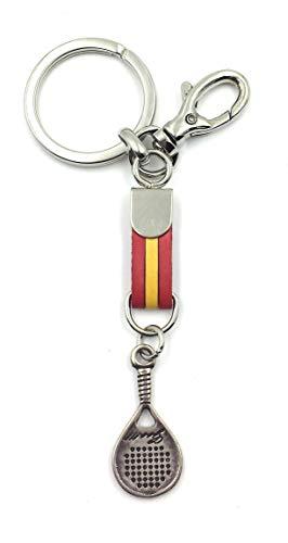 FJR-ArtPiel - Llavero bandera de España con pala de padel y mosquetón de seguridad - Alta Calidad