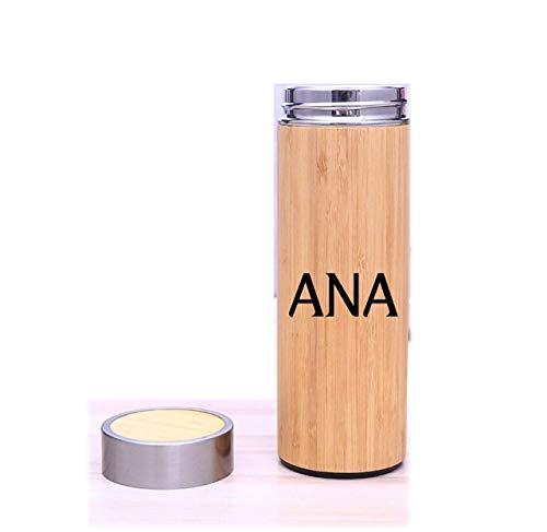 Botella de Agua Acero Inoxidable y bambú. 450 ml,