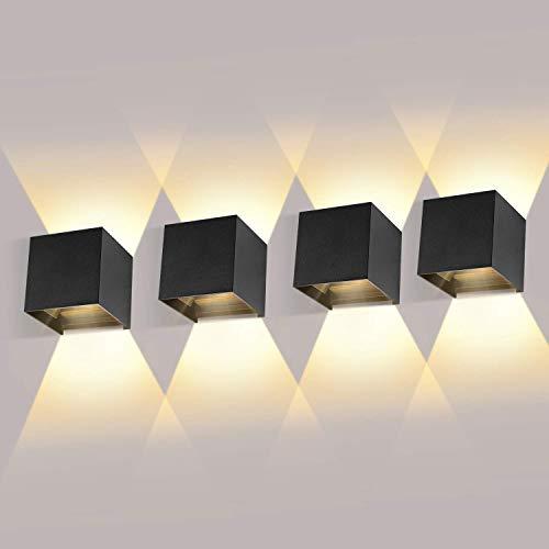 4 Pack 12W LED Wandleuchten Innen/Außen Wandlampe LED Auf und ab Einstellbarer Lichtstrahl 2700-3000K Warmweiß Außenwandleuchte LED IP65 Wasserdichte Wandbeleuchtung(Schwarz)