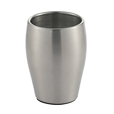 InterDesign Avery Tumbler Cup for Bathroom Vanity Countertops, Brushed Stainless steel