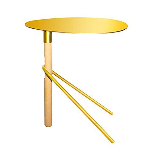 Feifei Sofa Table d'appoint en Fer forgé + Table Basse de Salon Multi-Fonctions en Bois Petite Table d'appoint créative, 46 * 36 * 47CM, Noir/Or/Blanc (Couleur : Or)