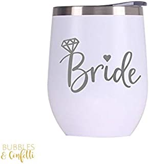 Bubbles & Confetti Bride Engraved Tumbler with Lid | White and Silver Stainless Steel 12 oz Drinking Wine Cup | Bridal Shower + Bachelorette Party | Bride to Be Supplies | Engagement + Wedding Gift