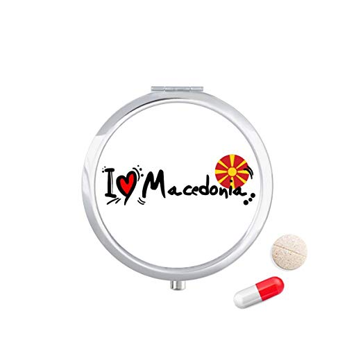 DIYthinker Ik hou van Macedonië Woord Vlag Liefde Hart Illustratie Reizen Pocket Pill Case Medicine Drug Opbergdoos Dispenser Spiegel Gift