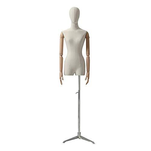 AJZGF Maniqui de Costura Sastres ficticias Sastre Modelo Busto Base de trípode Cuerpo Blanco maniqui Mujer (Color : Silver)