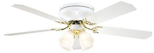 Litex BRC52WB5C Schuster Collection 52-Inch Ceiling Fan with Five Reversible White/Whitewash Blades and Four Light kit with Frosted-Ribbed Glass