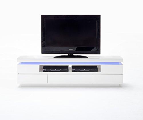 Robas Lund Lowboard laqué Blanc Brillant, Meuble TV avec Eclairage LED variable en coloris, télécommande inclusive