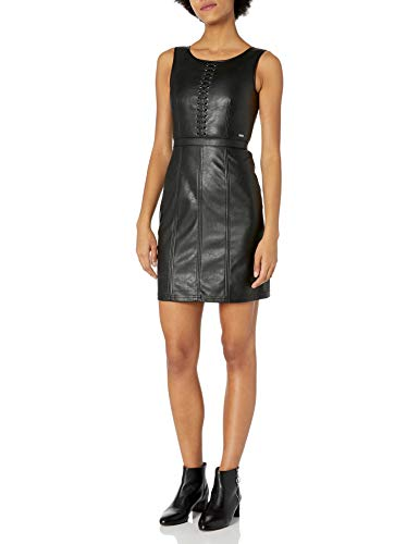 Armani Exchange AX Damen Short Sleeveless Leather Dress Legeres Abendkleid, schwarz, 40
