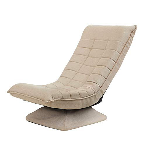 Sofá plegable giratorio individual, tela de esqueleto de metal, respaldo ajustable a la moda y cómodo color beige