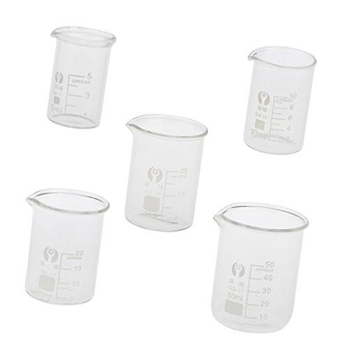 FITYLE 5pcs Glas Labor Messbecher - 5 ml, 10 ml, 20 ml, 25 ml, 50 ml