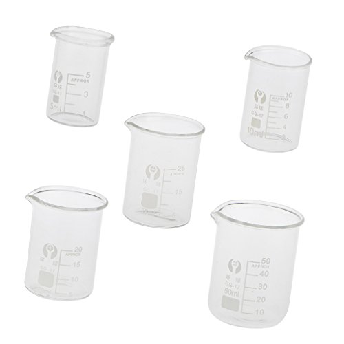 FITYLE 5pcs Glas Labor Messbecher - 5 ml, 10 ml, 20 ml, 25 ml, 50 ml