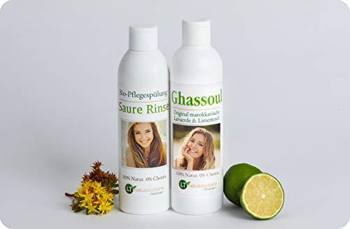 LT-NATURPRODUKTE Lavaerde/Ghassoul-Haarpflegeset - für die chemiefreie Haarpflege: 250ml Wascherde-Fertigmischung, 250ml Saure Rinse im Geschenkpaket/Wellness Set/Pflegeset. Tensidfrei