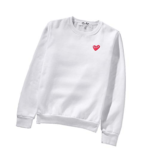 yur67 CDG Play Heart Print Sweater Round Neck Couple White Sweater Hoodie for Men/Women