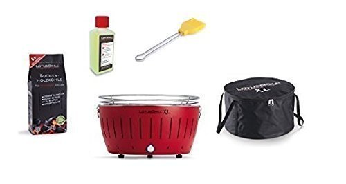 LotusGrill Barbecue XL Kit de démarrage 1x Lotus Barbecue charbon de bois de hêtre XL Feu Rouge 1x 1kg, 1x Pâte combustible 200ml, 1x Pinceau maïs jaune, 1x XL Sacoche de transport