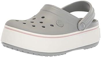 Crocs Men s and Women s Crocband Clog | Platform Shoes Light Grey/Rose 7