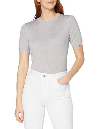 MERAKI Jersey con Cuello Redondo de Lana Merino Mujer, Gris (Light Grey Marl), 42, Label: L