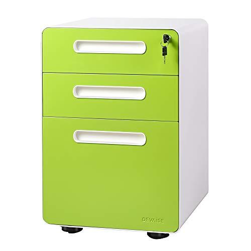 DEVAISE 3-Drawer Mobile File Cabinet with Anti-tilt Mechanism, Legal/Letter Size, Green
