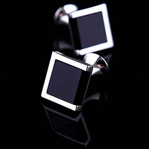 ZYQXB Gemelos para camisa de hombre (color de la piedra principal: negro, color del metal: gemelos Olny)
