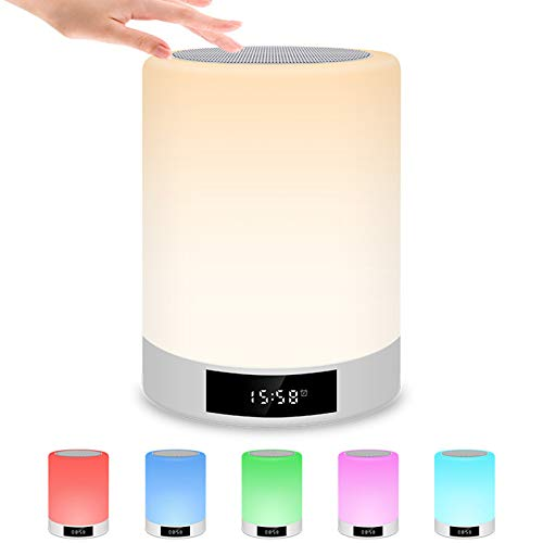 LRQY LED Toque Lámpara De Mesa con Bluetooth Altavoz Alarma Reloj Radio FM, 3 Regulable Luz Calida Y 7 Cambio De Color USB Recargable Lámpara De Mesa