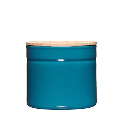 Riess, 2174-200, Vorratsdose mit Eschenholzdeckel, Durchmesser 13 cm, Höhe 12 cm, Inhalt 1350 ml, SILENT BLUE, KITCHEN-MANAGEMENT, Truehomeware, Emaille