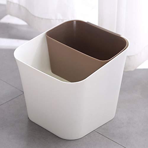 Mülleimer Trocken- und Nass Trennung Trash Can Multifunktionale Haushalt Wohnzimmer Küche Dual-Use-Klassifizierung Badezimmer Trash Can (Color : Brown)