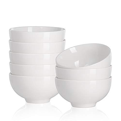 MALACASA, Serie Regular, 16 tlg Cremeweiß Porzellan Müslischale Schale Set Schüssel Dessertschale Müslischalen Suppenschale Suppenschüssel