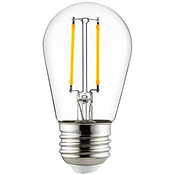 Sunlite 81073-SU LED S14 Filament Style String Light Bulb 2 Watts  25W Equivalent  200 Lumens Medium Base  E26  Dimmable ETL Listed 27K Warm White 1 Pack