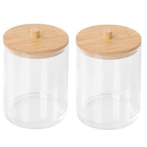 Nicedier Los hisopos de algodón Titular de Almacenamiento Caja de acrílico Canastillo tarros con Unidad de Almacenamiento de 2 Piezas de bambú Transparente Tapa