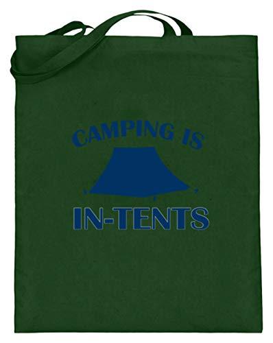 Générique Camping Is In-tents – La tente est intense. Motto amusant pour les vrais camping-car – Sac en jute (avec anse longue). - Vert - vert, 38cm-42cm