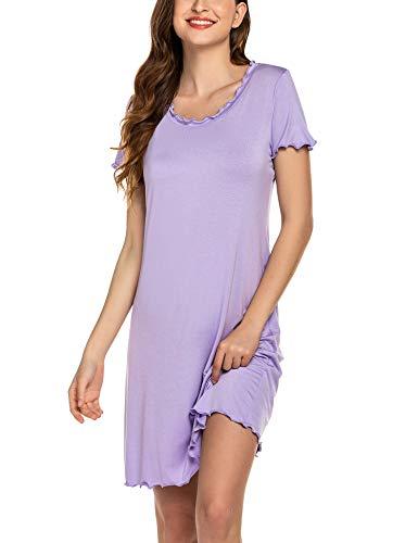 Ekouaer Sleep Shirt Dress Women's Nightshirt Short Sleeve Ruffle Seams Nightgown O Neck Sleepwear Pajama Dress Plus Sleep Shirt Lilac XL