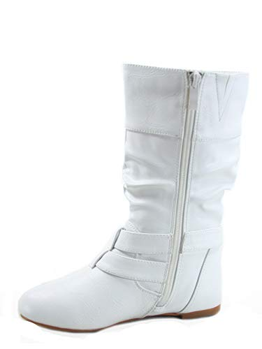 FZ-Sonny-54k Youth Girl's Fashion Low Heel Zipper Buckle Round Toe Riding Boot (2 B(M) US, White)