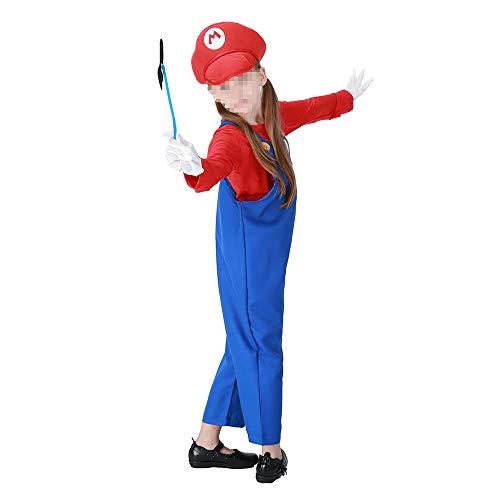 Halloween kostüm, Halloween Cosplay kostüm Halloween Cosplay Horror Kostüm,Halloween Mädchen Mario Louis Kinderkostüm Mit Handschuhen