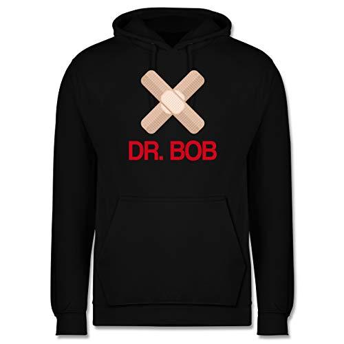 Shirtracer Karneval & Fasching - Dr. Bob Kostüm Pflaster - XL - Schwarz - Arzt - JH001 - Herren Hoodie und Kapuzenpullover für Männer