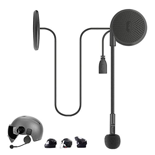 OBEST 0.4  Auriculares Casco de Motocicleta Bluetooth 5.0, Auriculares Inalámbricos Ultrafinos y Cómodos para Casco, con Clip de Fijación de Medio Casco se Puede Conectar a 2 Teléfonos Móviles
