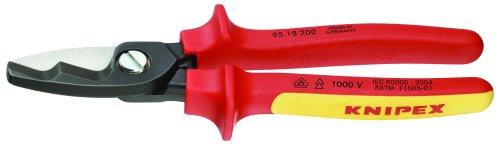 KNIPEX - Ferramentas 95 18 200 SBA – Tesouras de cabos, borda de corte dupla, isolamento 1000 V (9518200SBA)