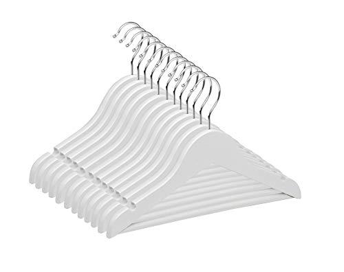 TODO HOGAR Percha Infantil Color Blanco (Pack de 12 Y 21 Und) Hechas en Madera de Arce con Muescas Antideslizantes y Gancho Giratorio 360° de 30 cm