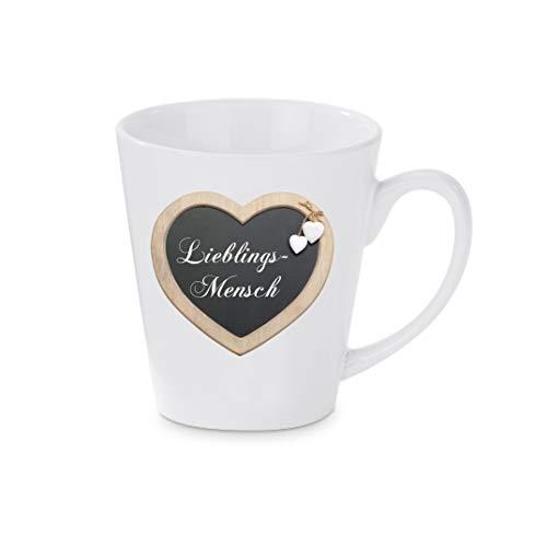 Crealuxe Konische Kaffeetasse, Kaffeepott Lieblingsmensch - Kaffeebecher, Becher mit Motiv, Bedruckte Latte oder Cappuccinotasse, auch indualisierbar.