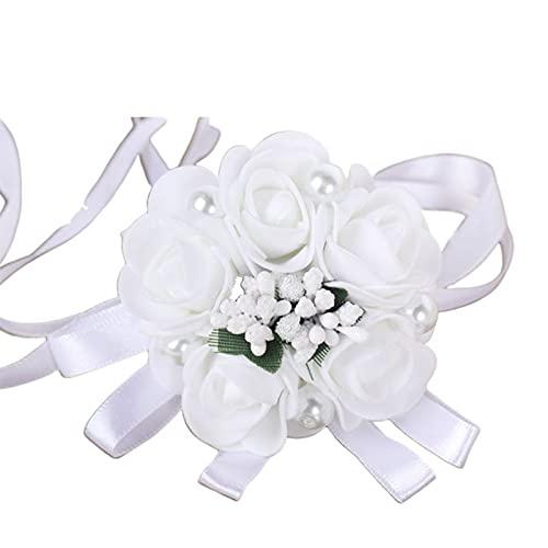 XIANGBEI Pulsera para mujer, dama de honor, boda, color blanco, ramillete de la muñeca de rosa artificial de la muñeca de la flor de imitación de la joyería de la perla, pulsera de la fiesta de baile