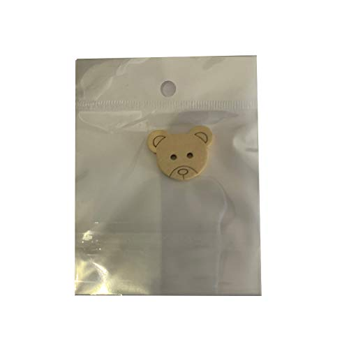 Bear Shaped Wooden ButtonsSimple and Stylish NonToxic Safety2 Holes for Sewing Clothing Accessories Decorations Crafts Scrapbooking 2pcs 20x25mm