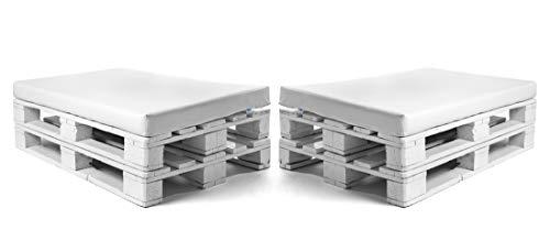 SUENOSZZZ-ESPECIALISTAS DEL DESCANSO Pack 2 colchonetas Asiento para Sofas de palets, cojin Chill out Relleno con Espuma y enfundado en Polipiel Color Blanco