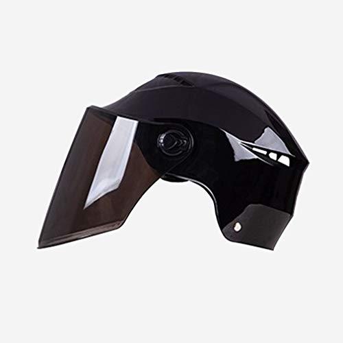 HUSTLE Casco De Moto para Ciclomotor para Moto Scooter Protección Multicapa Casco Abierto Refrescante Y Transpirable Diseño De Anillo Volador Ajustable para Mujer Hombre,Negro