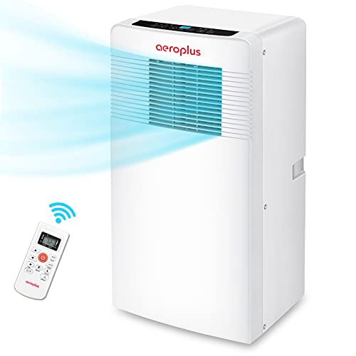Aeroplus Portable Air Conditioner 10000 BTU Floor AC Unit with Cooling Dehumidifier Fan Remote Control 3 Speed Fan and 3 Cool Settings 24-Hour Timer Easy Installation Great for Bedroom Living Room