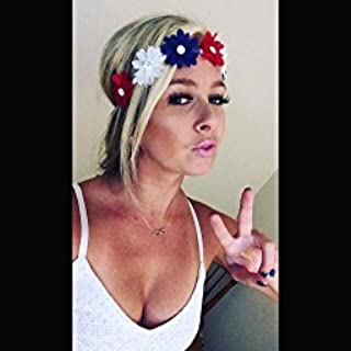 Lux Accessories Women's Red White Blue American Flag Patriotic Floral Flower Crown Stretch Headband