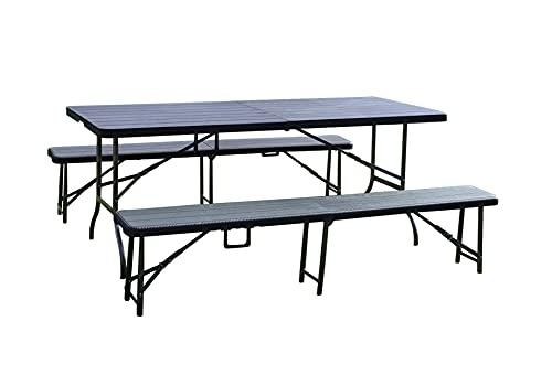 Miganeo Bierzeltgarnitur mit Tisch und 2 Bänken in schwarzer Holzoptik 181 x 75,5 x 75,5 cm 99528