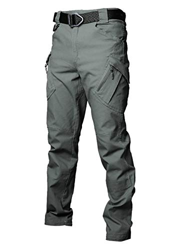 Les umes Mens Outdoor Cargo Work Trousers Ripstop Military Tactical Combat Pants Camping Hiking Trousers Army Green 32