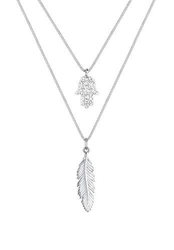 Elli Halskette Damen Feder Hamsa Layer mit Kristalle in 925 Sterling Silber