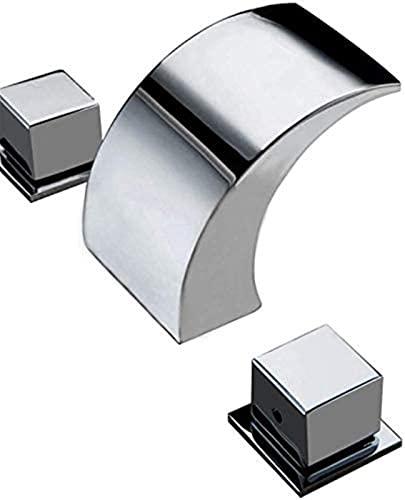 NTUPT Grifos Monomando para Lavabo con Cascada LED de 3 Orificios, Grifo de baño, Grifo de baño, Doble manija, Hecho de latón Cromado