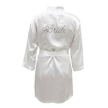 Satin Bride Robe with Rhinestones - Bridal White (L/XL (8-16))