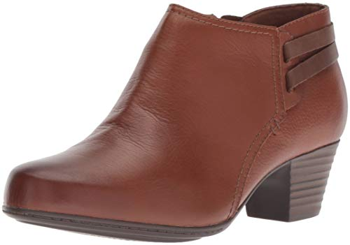 Clarks Women's Valarie2Ashly Fashion Boot, Dark tan Leather, 9 M US