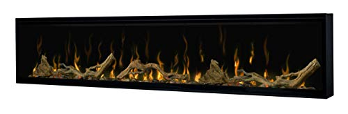 Dimplex Excite Linear Electric Fireplace Insert with Ceramic Heater, Interchangeable Log or Crystal Ember Bed, Multi-Colored Flames and Remote Control, 74in